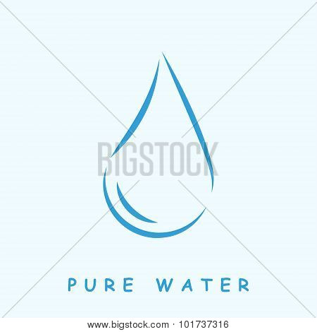 Pure water logo, 2d vector icon on light blue background, eps 8 poster