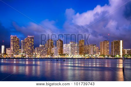 Hawaii skyline at night