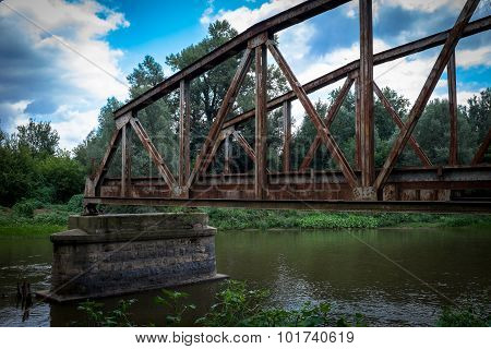 Old Ruined Metallic Bridge