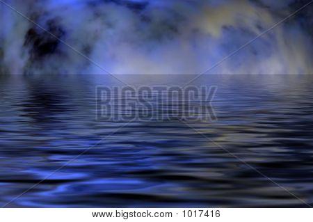 a dark and gloomy sky reflected on water poster
