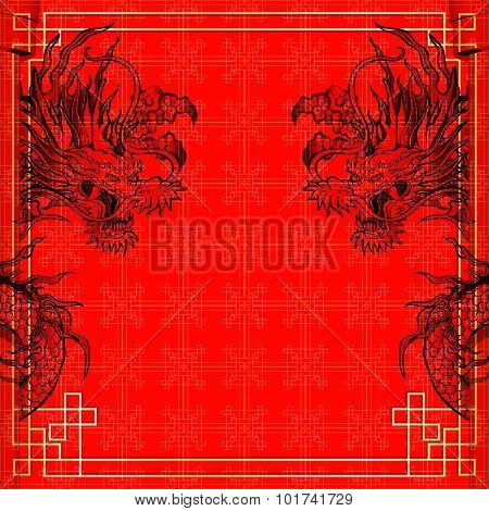 Frame Red Dragon Gold-colored Sticker 3