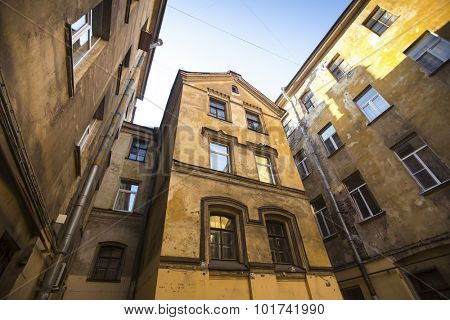 House court yard in the historic center of St. Petersburg, Russia.