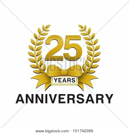 25th anniversary golden wreath logo