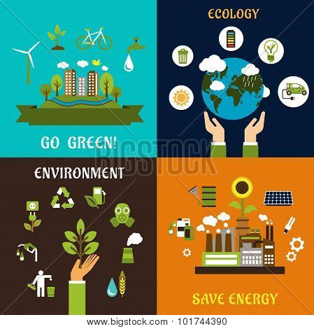 Environment, ecology and save energy icons