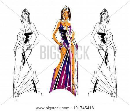 Fashion sketch illustration
