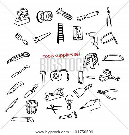 Illustration Vector Doodles Hand Drawn Tools Supplies Set.