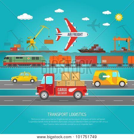 Logistics transportation details flat poster print