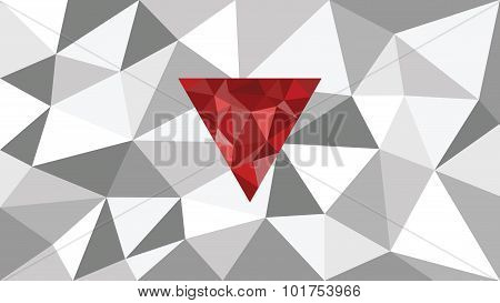 abstract shining vector geometric web background, red shape in front,  shades of gray  triangle,  co
