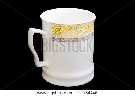 White Cup On A Black Background