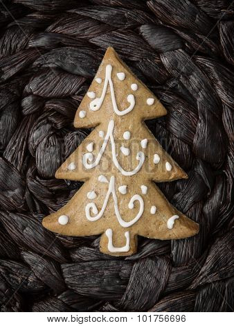 Christmas Tree Shaped Gingerbread Cookie