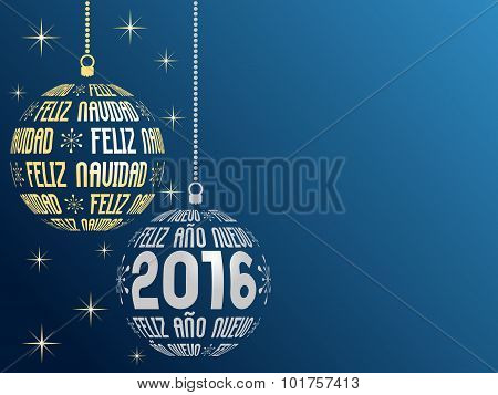 spanish text Merry Christmas and Happy New Year 2016 background