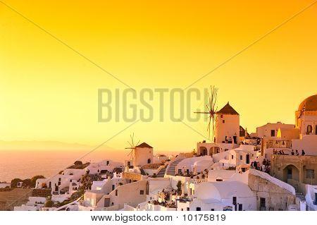 Sunset in Oia village Santorini, Greece