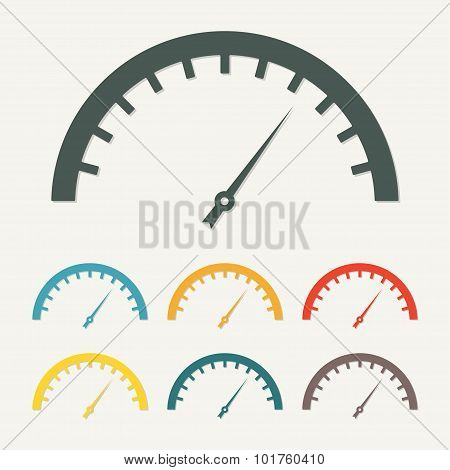 Speedometer icon or sign with arrow. Infographic gauge element.