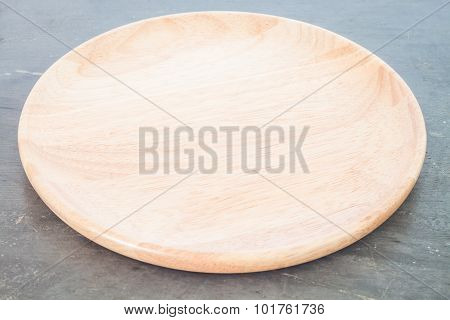 Wooden Plate On Grey Background