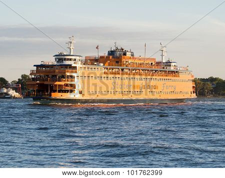 NEW YORK,USA - AUGUST 13,2015 : The Staten Island Ferry on the New York harbor