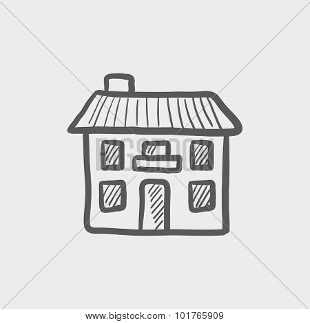 Two storey detached house sketch icon for web, mobile and infographics. Hand drawn vector dark grey icon isolated on light grey background.