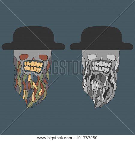 skulls in hats with beards. vector illustration