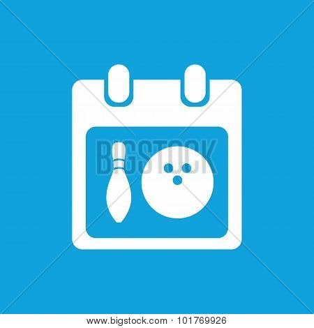 Bowling schedule icon, simple white image isolated on blue background poster
