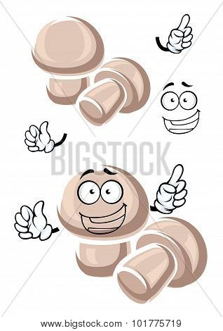 Cartoon funny champignon mushrooms characters