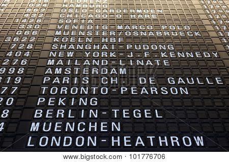 Flight Information Board In Frankfurt Airport