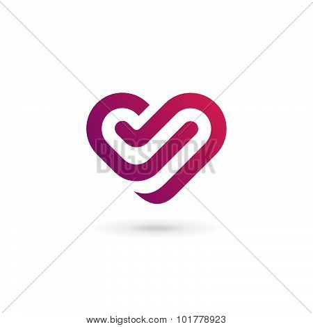 Letter V Heart Symbol Logo Icon Design Template Elements