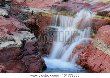 Small Waterfall In Red Rock Canyon, Alberta