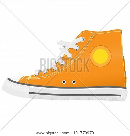 Running shoes with white shoelaces side view