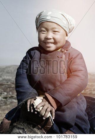Little Girl Mongolian Culture Riding Concept