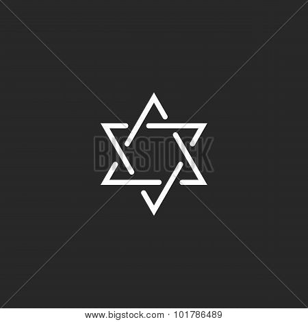 Star Of David Monogram Logo, Hexagram Of Thin Line As A Jewish Symbol