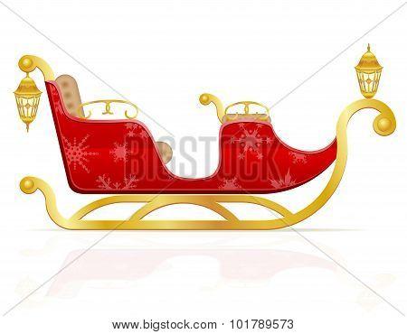 Red Christmas Sleigh Of Santa Claus Vector Illustration