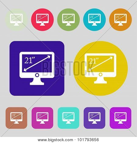 Diagonal Of The Monitor 21 Inches Icon Sign. 12 Colored Buttons. Flat Design. Vector