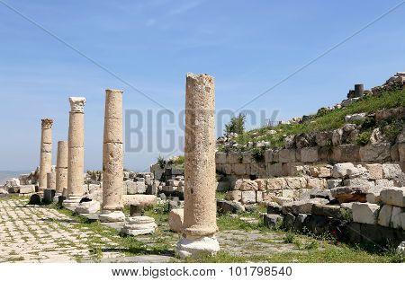 Roman Corinthian Columns In Umm Qais (umm Qays) --is A Town In Northern Jordan Near The Site Of The
