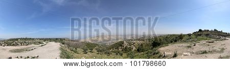 Panoramic views of the Golan Heights and Roman ruins at Umm Qais