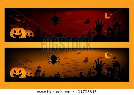 Halloween vector background banners. Pumpkin head, zombie hand, Halloween symbols. Halloween silhouette for Halloween party flyer invite card design. Halloween night background, ghost, banner, zombie