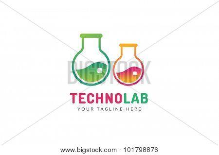 Laboratory equipment vector logo. Lab icon logo isolated on white. Chemicals, lab logo, laboratory equipment, science logo icon, technology logo, science logo. laboratory glassware logo. Testing glass