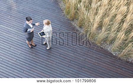 High angle view of businesswomen discussing while standing on floorboard poster