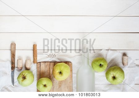 Vintage Background With Empty Glass Bottles And Accesorise