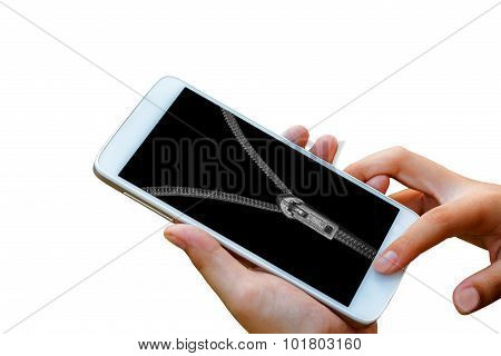 hand's man hold and touch on smart phone with zip lock,abstract background for solution to security
