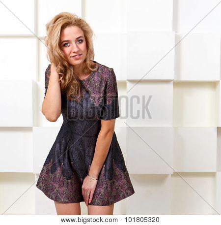 Sexy Bashful Girl In Short Dress