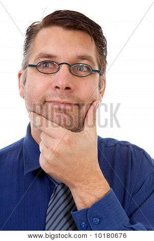 Portrait Of Nerdy Geek Thinking