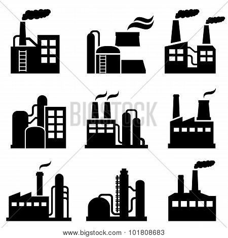 Industrial Building, Power Plant And Factory Icons