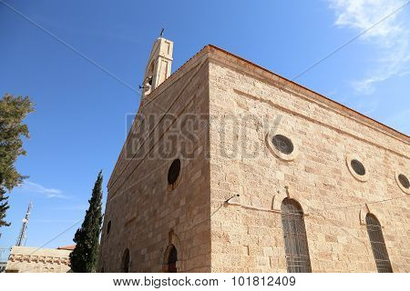 Greek Orthodox Basilica of Saint George in town Madaba Jordan Middle East poster