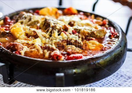Meat With Cheese On Clay Try Named Sach