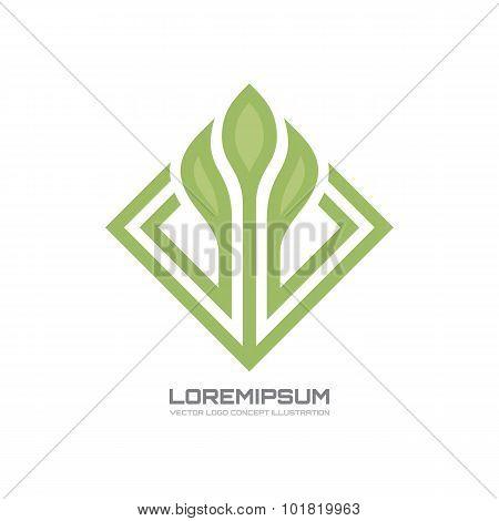 Flower - vector logo concept illustration. Flower with leaves vector illustration.