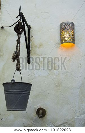 Fountain With Bucket Hanging