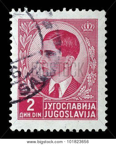 YUGOSLAVIA - CIRCA 1939: A stamp printed in Yugoslavia shows King Peter II, circa 1939.
