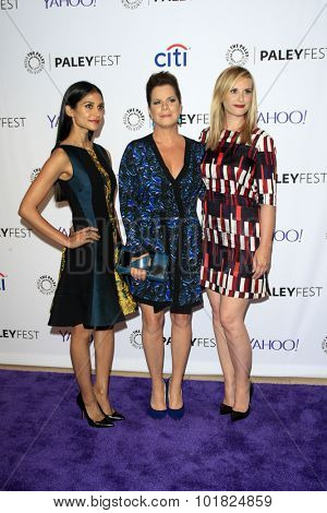 LOS ANGELES - SEP 12:  Melanie Chandra, Marcia Gay Harden, Bonnie Somerville at the Fall Preview - Code Black at the Paley Center For Media on September 12, 2015 in Beverly Hills, CA