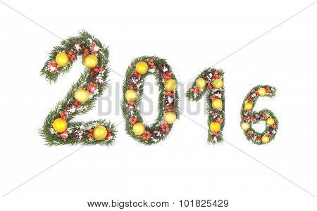 2016 Number Written By Christmas Tree Branches