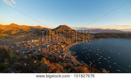 Sunset On Copacabana Bay, Titicaca Lake, Bolivia
