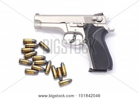 Use Modern Handgun M9 Close-up. Isolated On A White Background.